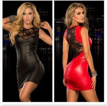 Новые лакированной кожи женщин сексуальное нижнее белье сексуальное кружево шить тонкий пакет хип платье