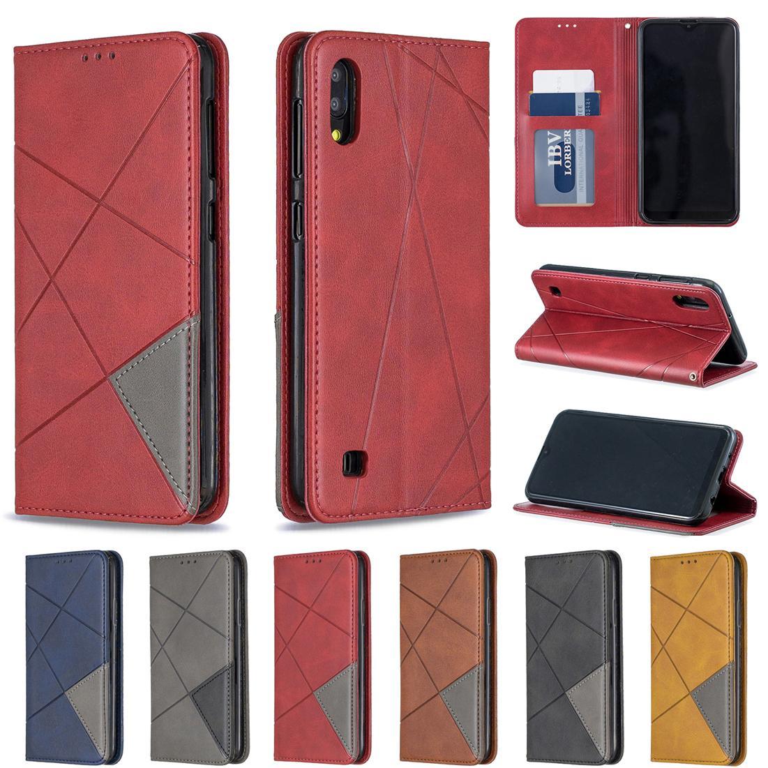 Case Flip Phone Samsung Galaxy A10 Thicken Triangle antisalissure design avec carte de portefeuille Porte-bracelet chaîne Hole (modèle: A10)