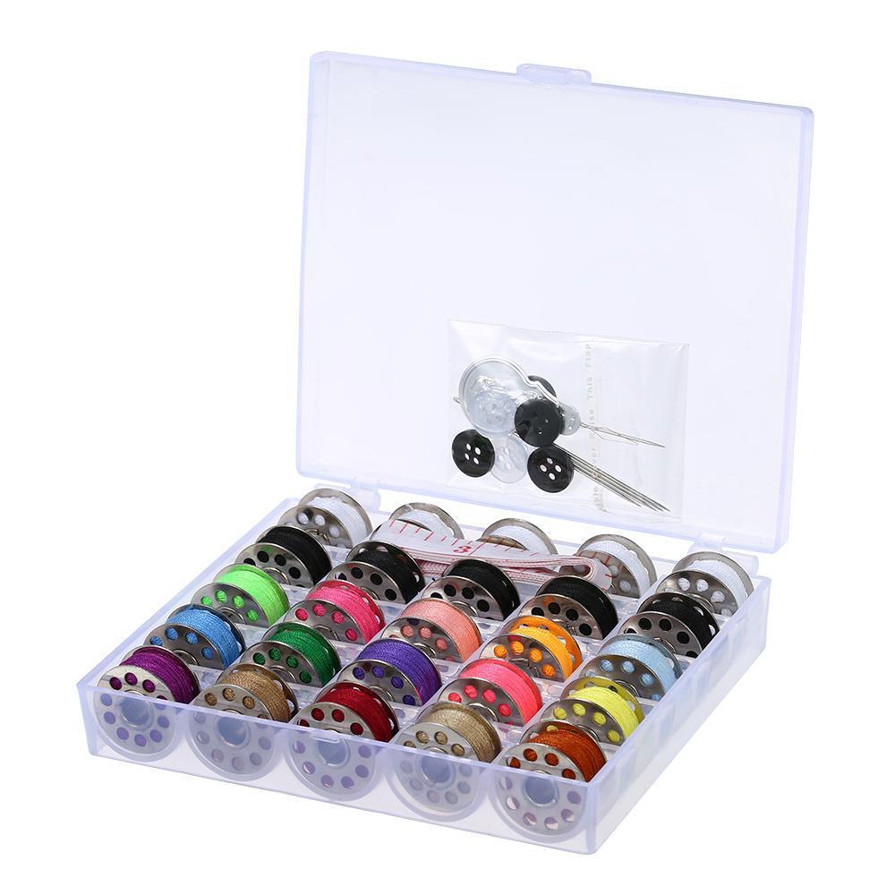 25pcs colori misti Bobine Bianco Nero bobine di filo Bobine Accessori Forniture per cucire Kit Con stoccaggio caso Needlework strumento WvYDn