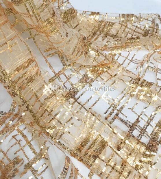Fashion Transparent crystal Gold glitter plaid striped lace fabric dress dress diy home textiles wedding cloth mesh mannequin fabric C584