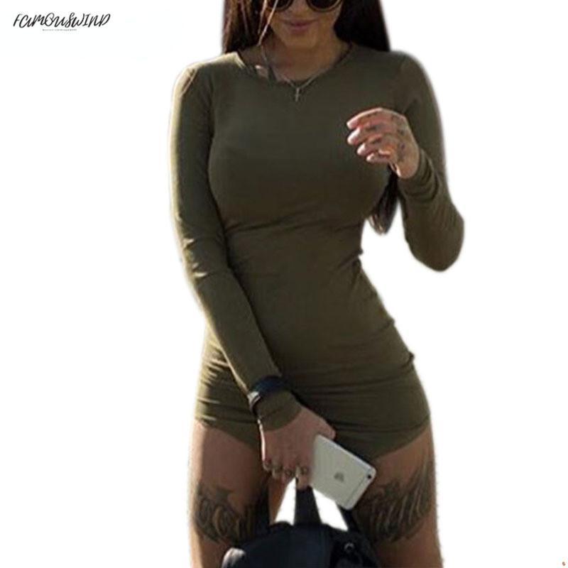 Taglie forti Abbigliamento donna Mini manica lunga aderente tunica Split Party Sexy Clubwear laterale Slim Tshirt Abiti fasciatura M0462 Abiti firmati