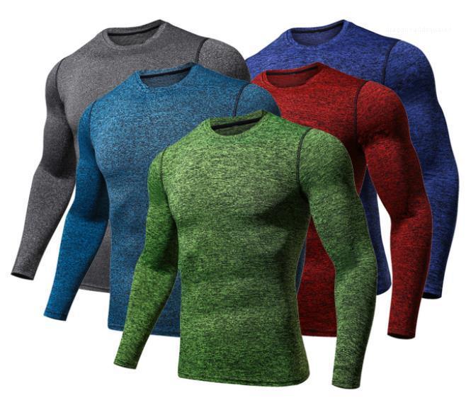Erkek Sıkıştırma Tshirts İlkbahar Sonbahar Yeni Slim Fit Hızlı Kuru Spor Tops