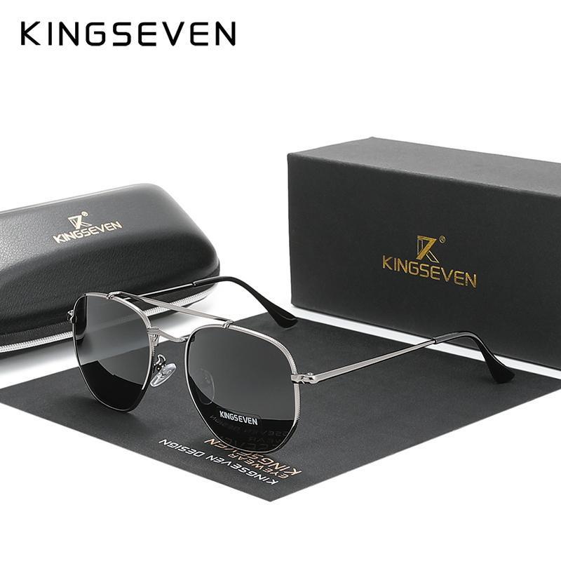 Kingseven Authentic Óculos vintage Homens polarizada Aço Mulheres Hexagon Sun Glasses inoxidável Lunette De Soleil Femme N7748 UiPhT