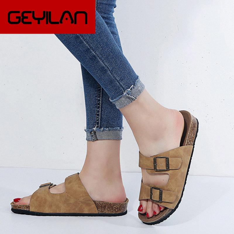 Femmes Boucle Tailles Plus plat Cork été Chaussons Femme Mode Plage Slides dames en plein air Chaussures Casual Mode