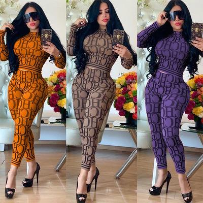 Designer Designer Designsuits Womens Lettere Pattern Moda Moda Casual Stampa Due pezzi Set Trend Sexy di alta qualità 2020 Nuovo stile invernale