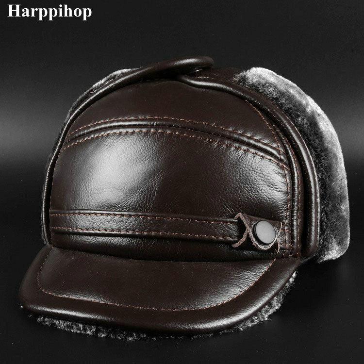Nuevo invierno gorra de cuero de los hombres gorra de cuero en los ancianos Sombrero de cuero Lei Feng sombrero T191022