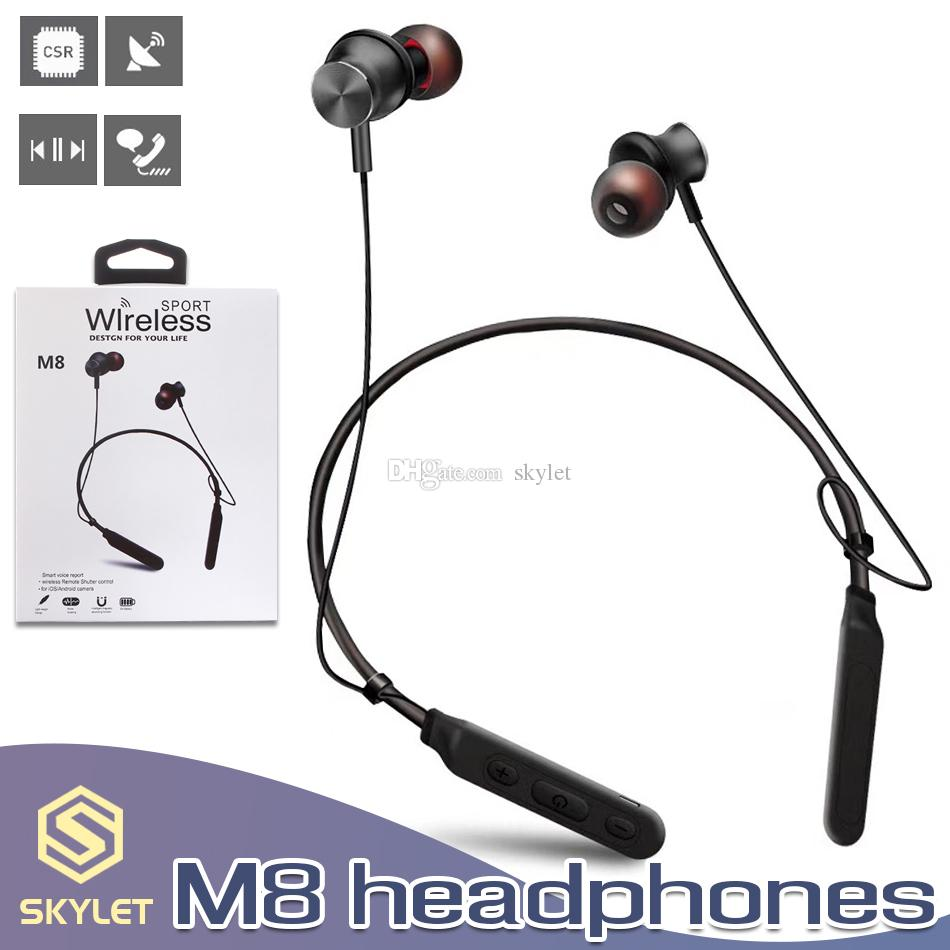 M8 Bluetooth Headphones Wireless Neckband Earphone Magnetic Sport Stereo Headset Handsfree Noise Cancelling with Mic in Box