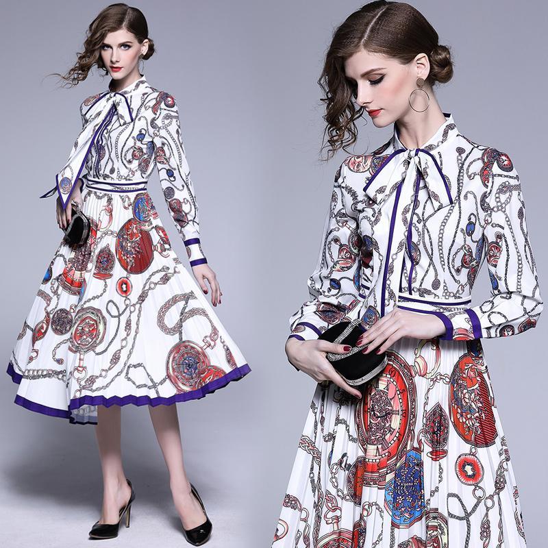 Robe de bal de la mode Imprimer Bow collier manches longues Tunique plissé Big Swing Midi femmes élégantes de fête de Madame vintage Vêtements Robes 6149