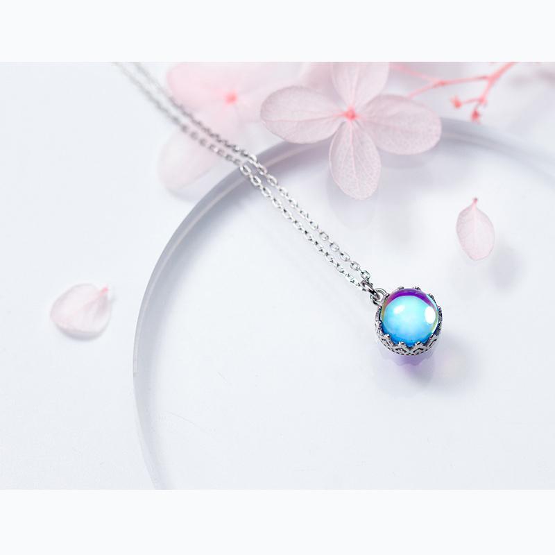 Inalis design élégant de gamme de haute 925 argent sterling collier haute pendentif en cristal bleu rond bijoux exquis fille cadeau d'anniversaire