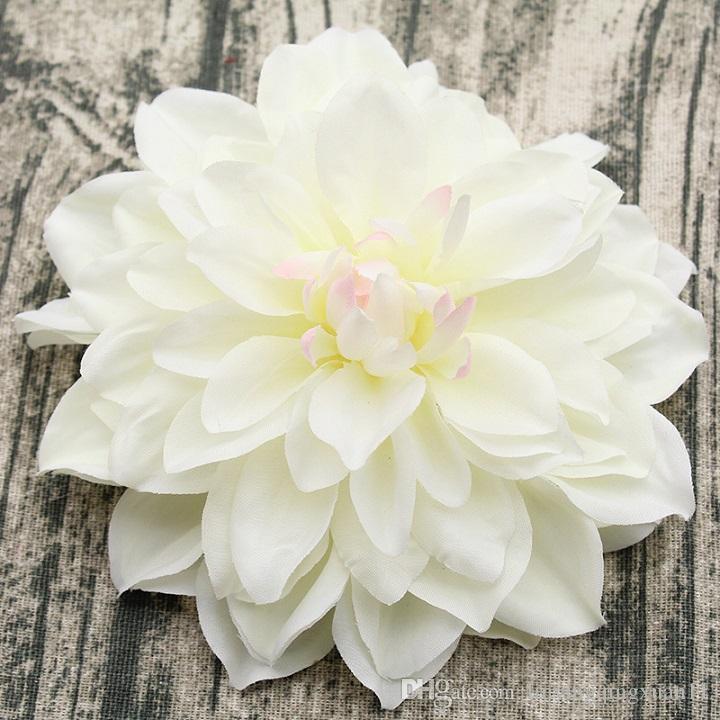 Gran Dahlia Artificial Peonía Cabeza de flor 15 CM Dia Seda Flor de la boda Flores de la pared Floral Party Home decorativos