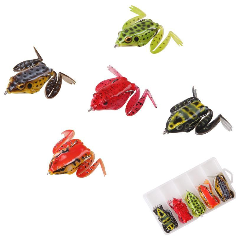 5Pcs/Box 16.4G Soft Frog Fishing Lures Snakeheads Fish Bait Top Water Ray Frog Silicone Artificial Lure For Trout Bass Fishing nzQfn
