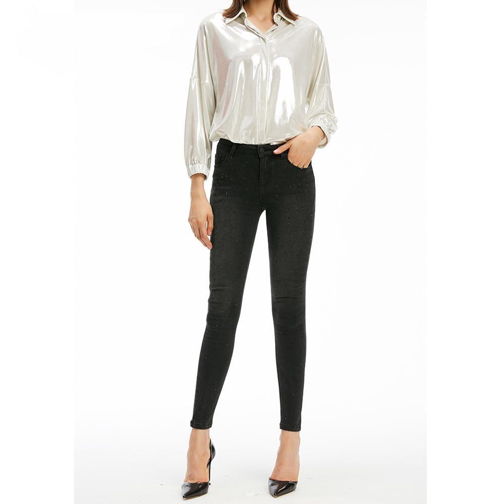 Acheter 2019 Femmes Printemps Noir Taille Haute Skinny Slim Jeans Pour Dames Brodé évasés Pantalons En Jean Jeans Femme De 5528 Du Dreamdesigner2019
