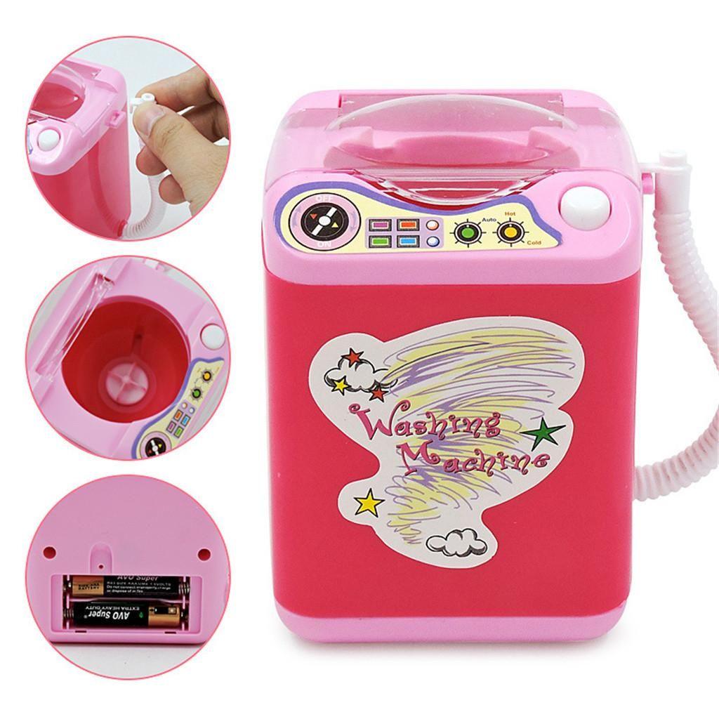 Niedliche Mini-Simulation spielen so tun, als elektrische kosmetische Puderquaste Waschmaschine Make-up Pinsel Reiniger Waschmaschine Werkzeug