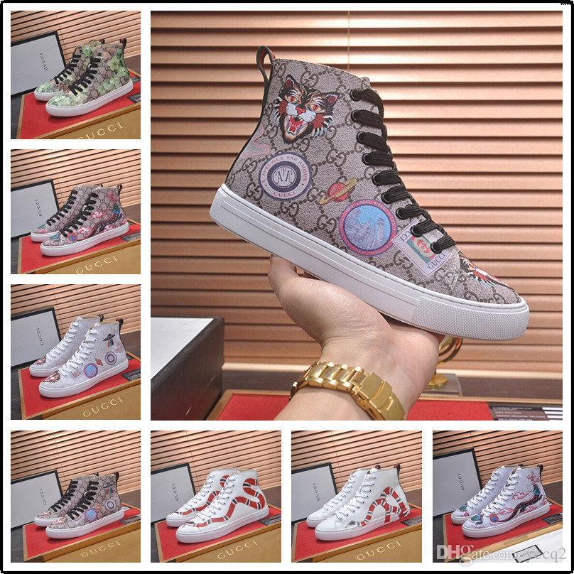 19SW lujo de diseñadores de alta calidad de color de los hombres manera clava los altos tops de Hip-hop calza los zapatos de roca tablero ocasional de plataforma plana zapatos de hombre