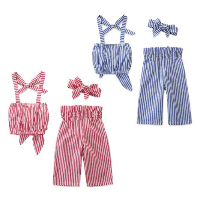 Wholesale summer girls outfits fashion kids designer clothes girls INS baby headbands bowknot tube tops striped pants 3pcs sets hot BY1428