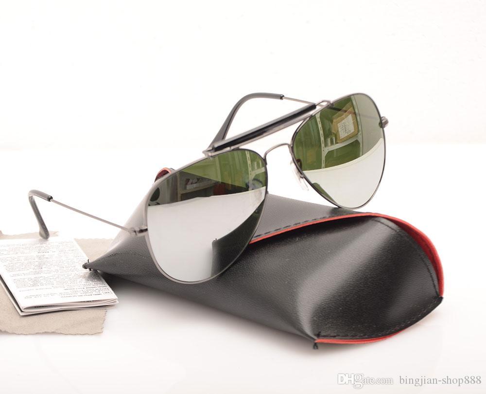 Shooter mit Objektivkoffer Neue Sonnenbrille Ray Gläser und Marke Designer Glas Sun Männer Original Pilot Womans GWGAP