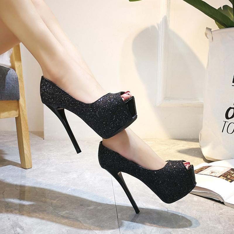 Hot Sale- Heel Shoe Concise Sexy lady Heels 2019 Zapatos Peep Toe Stiletto Wedding Party Pumps Pole Dancing Nightclub Platform Shoes