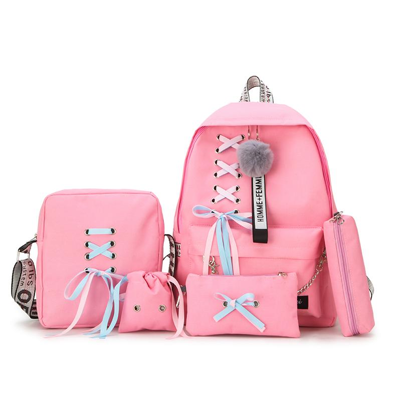 5pcs / set sacos de lona Mochila Escolar Mochila Feminina Backpack Mulheres Mochilas Mujer escola para meninas adolescentes mochilas