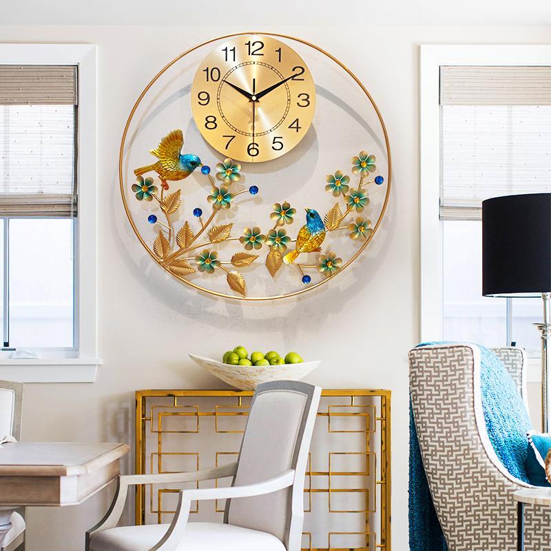 50cm Painting Wall Clock Flower Metal Silence Watch Wall Clocks