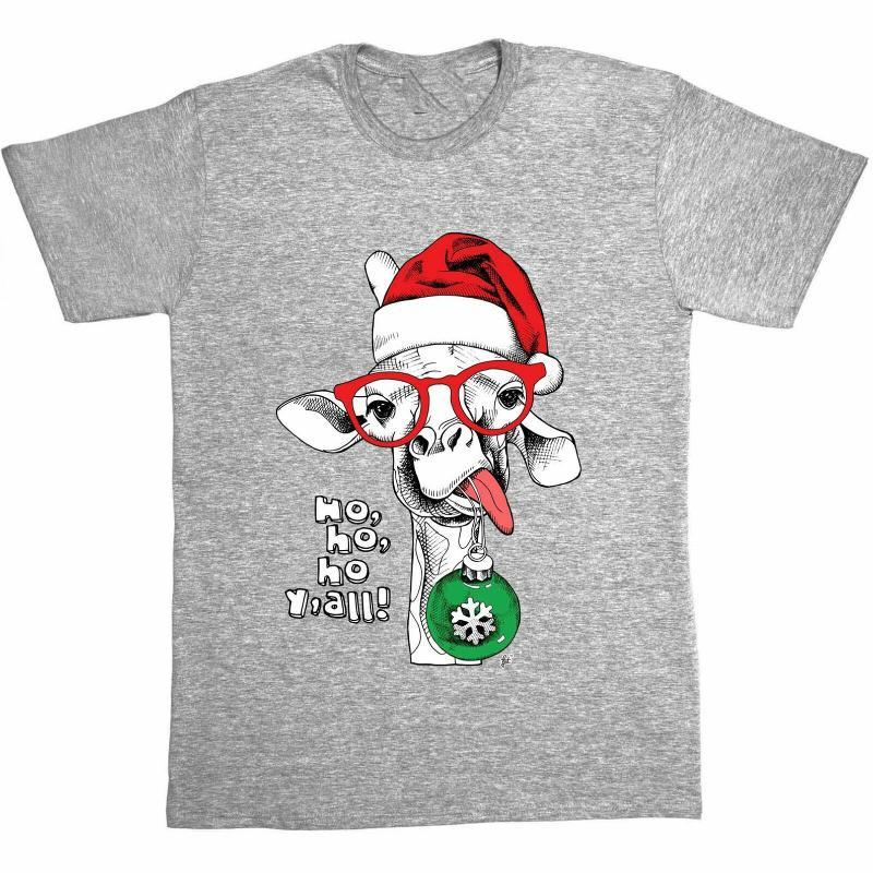 Ho Ho Y'all! Funny Christmas Giraffe With Bauble Mens T-Shirt Tops Tee Shirt Outfit Casual