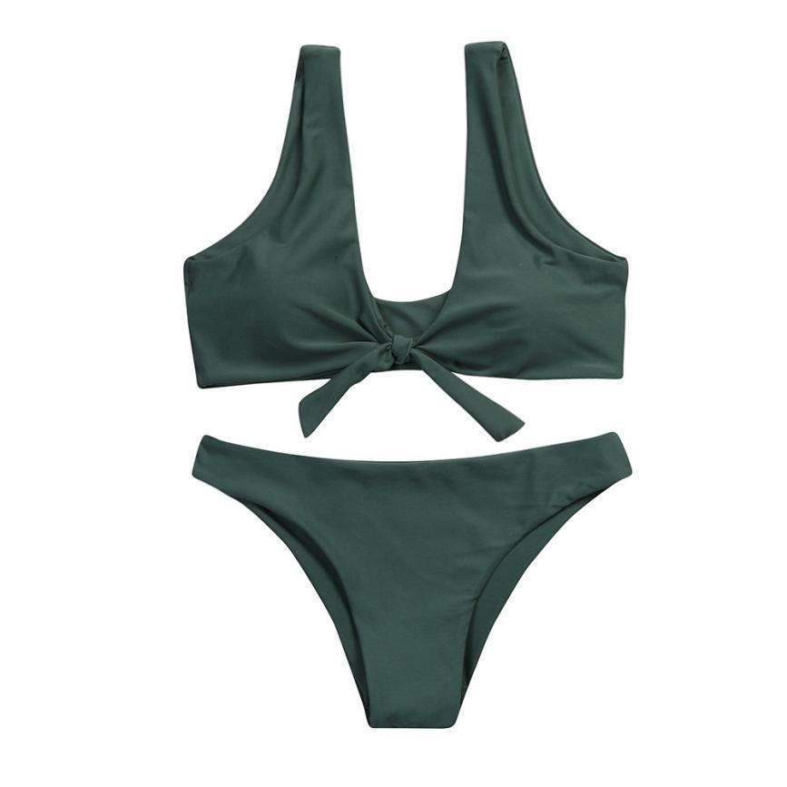 Schwimmen Badebekleidung für Frauen 4 Farben Frau Ohr Solide Frauen geknotete Padded Thong Set Low Waisted Badeanzug-Strand-Badebekleidung Weiche Biquini 15