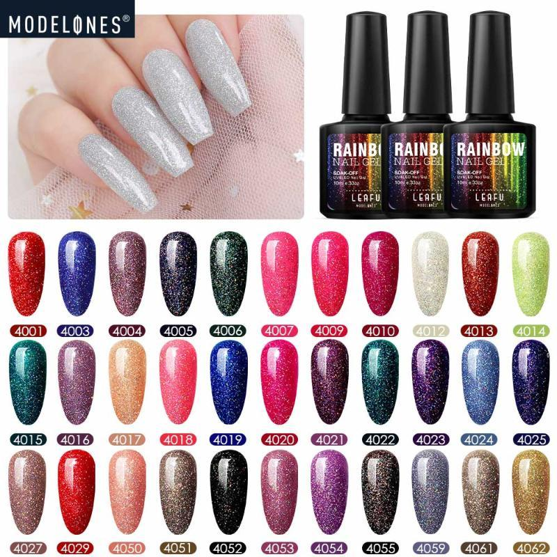 Modelones Brillant Néon Gel Polish Soak Off Nail Art Hybride LED Gel Nail Laque Longue Durée Paillettes LED Vernis