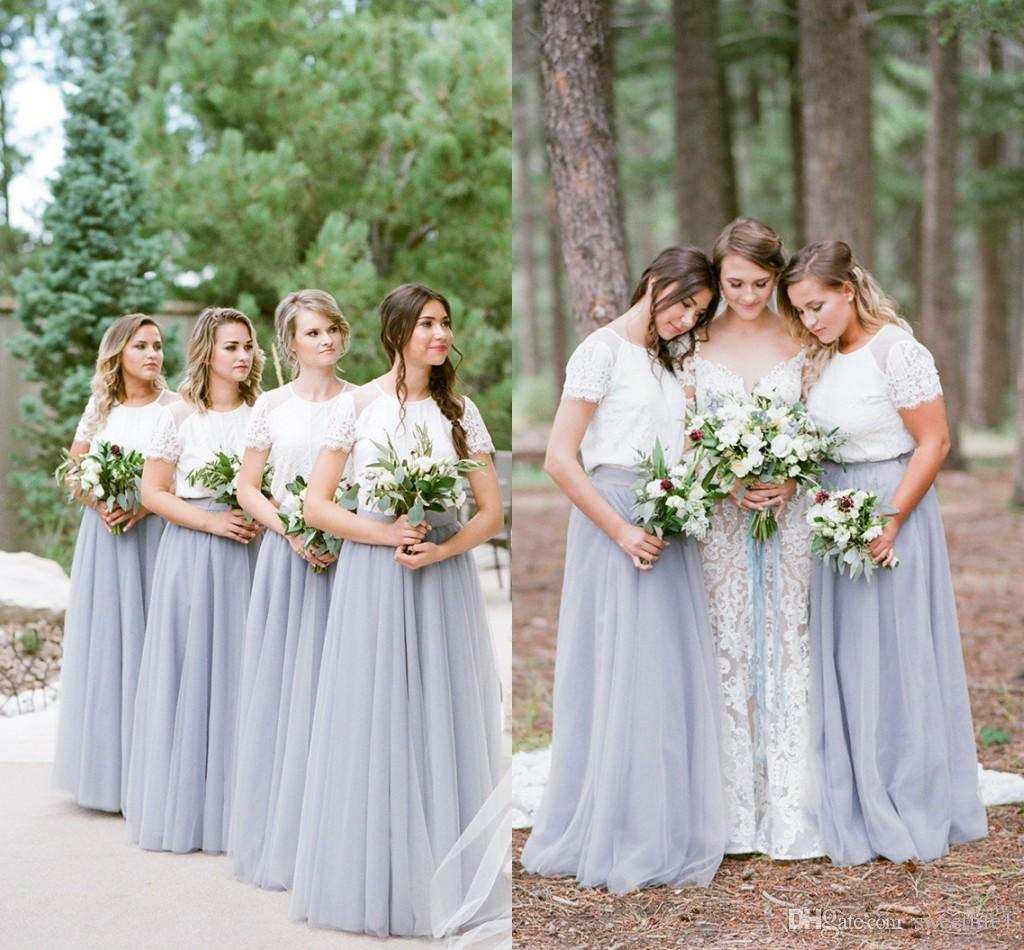 2019 Rustic Style Two Piece Bridesmaid Dresses