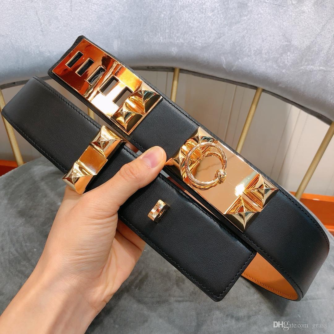 Marke HAKA Gürtel Luxus Gürtel Marke Gürtel beiläufige Art und Weise glatt Gold und Silber Schnalle optional Breite 3,0 cm hohe Qualität schnelle Lieferung