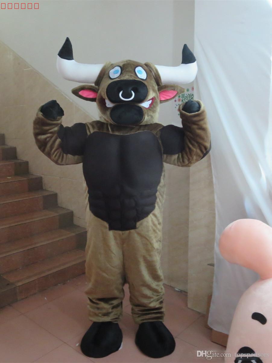 2019 NUOVO costume adulto della mascotte del toro di formato adulto corredo del vestito di mascotte di Cosply del partito di carnevale del bestiame del toro