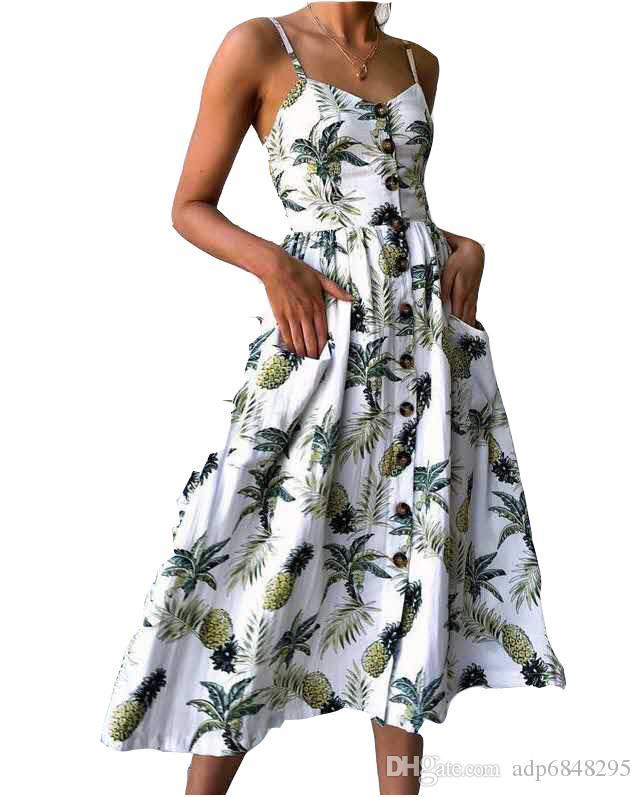 2019 stilvolle retro-Stil sexy böhmischen Blumen Korsett Strand Rock Sommerkleid Tasche Ananas Streifenkleid für Frauen