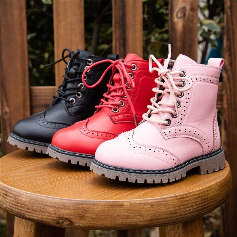 Acheter 2020 Mode Enfants Bottes Garçons Chaussures Enfant En Bas Âge Coton Doux Sole Évider Design Filles À Lacets Snow Kids Boot Chaussures 14 De