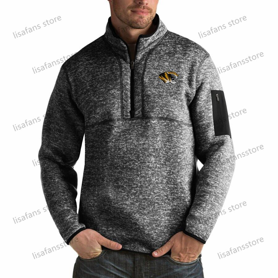 Missouri Tiger Pullover Sweatshirts Mens Fortune Big & Tall Quarter-Zip Pullover Jackets Stitched College Football Sports Hoodies