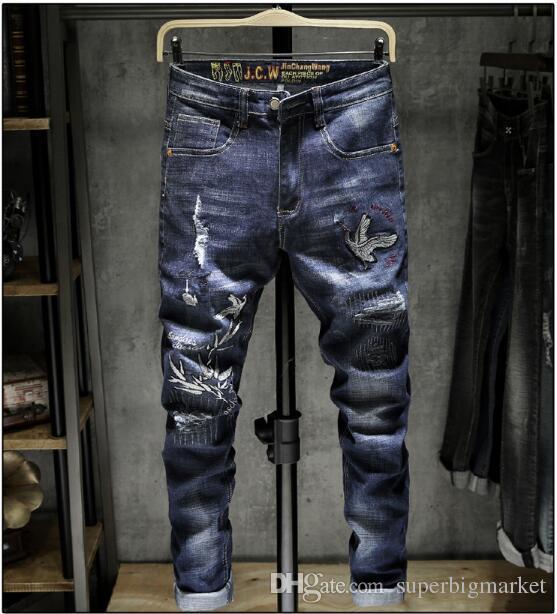 2019 ¡Nueva llegada! Jeans para hombres con cremallera microelástica abierta para jóvenes jeans bordados de viaje.