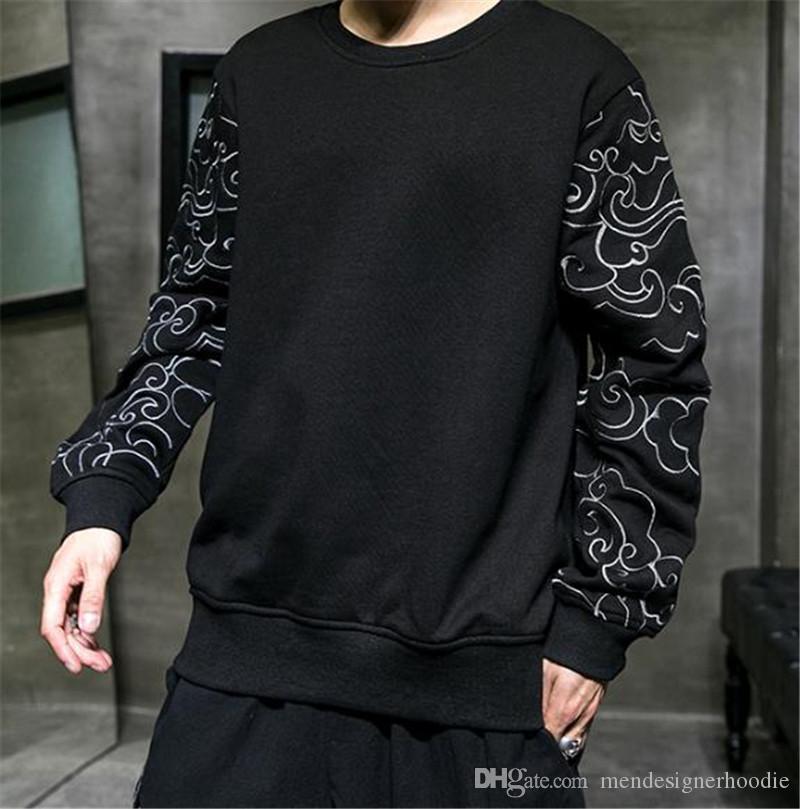 الصينية نمط مصمم رجالي هوديس أزياء فضفاضة التطريز كم نصب منصة مصمم رجالي هوديس عارضة ملابس الرجال