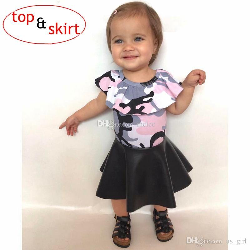 1-5Y INS Girls Baby Childrens Clothing Set Ruffled tshirts PU Skirts 2Pcs Set Fashion Summer Girl Kids Skirt Boutique Enfant Clothes Outfits