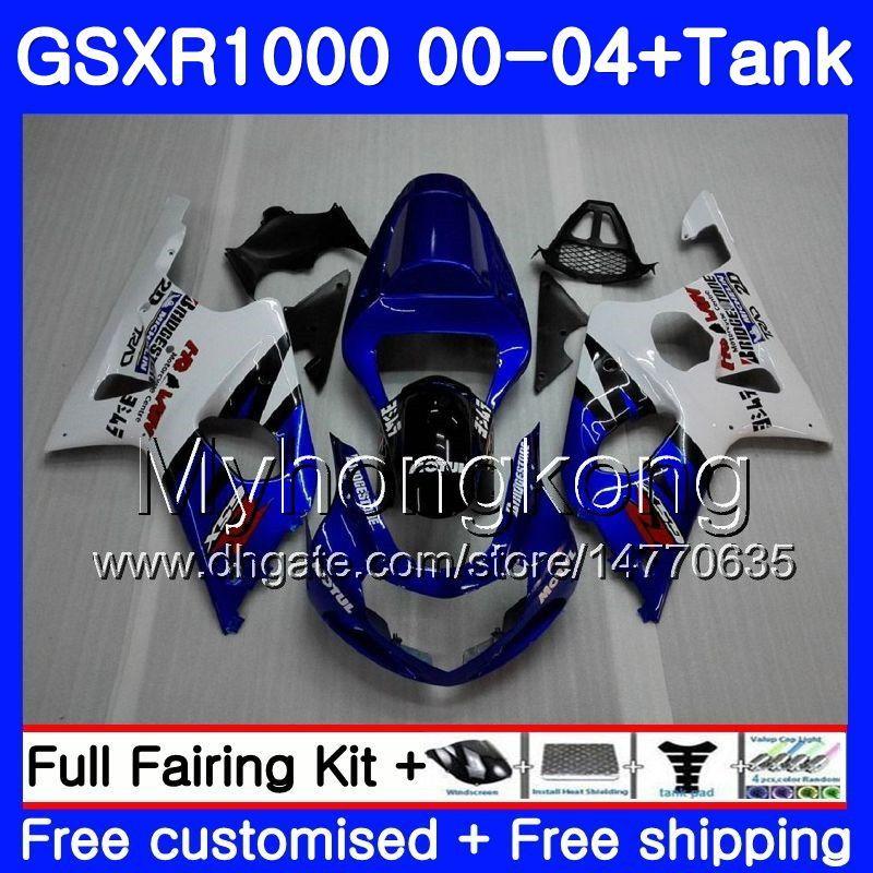 + Tanque Marco azul caliente para SUZUKI GSX R1000 GSXR1000 2000 2001 2002 2004 2004 299HM.51 GSXR-1000 K2 GSX-R1000 K3 GSXR 1000 01 02 03 04 Carenado