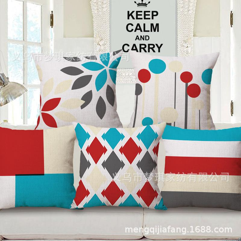 New Pattern Colour Geometry Hold Cotton Pillow Case Sofa Cushion To Work In An Office Back Cushion Bedside Backrest