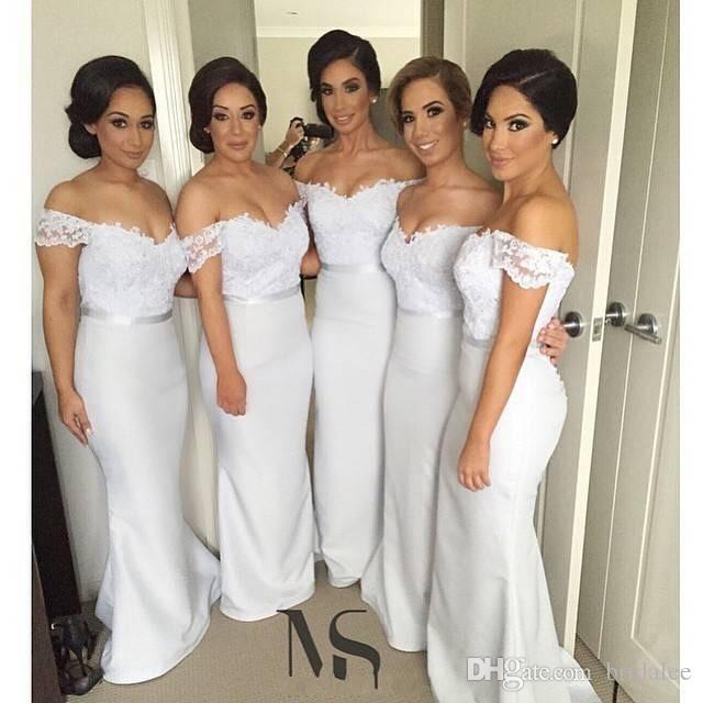 섹시한 어깨에서 긴 레이스 Bridemaids 드레스 인어 공식 이브닝 가운 웨딩 파티 드레스 신부 들러리 짧은 소매 싼