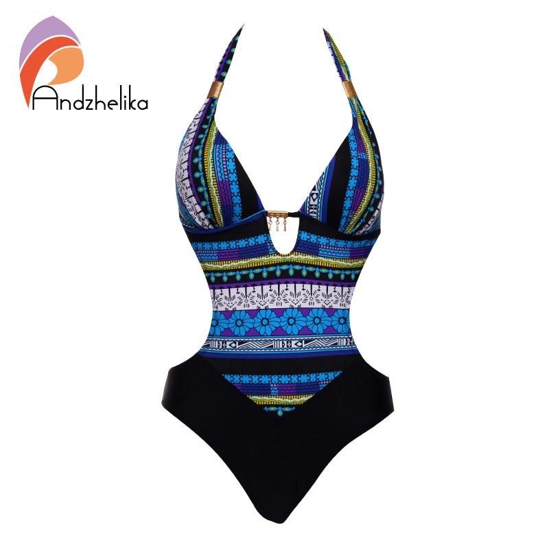 Wholesale-Andzhelika 2017 New One Piece Swimsuit Women Summer Bodysuit Sexy Brazilian Halter Swimwear Vintage Print Swim Suit Bathing Suit