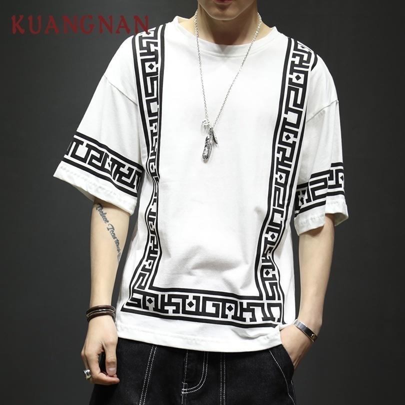 Kuangnan Harajuku уличная Белая мода смешная футболка Футболка Половина рукава хип-хоп футболка мужчины 5xl лето 2019 C19042301