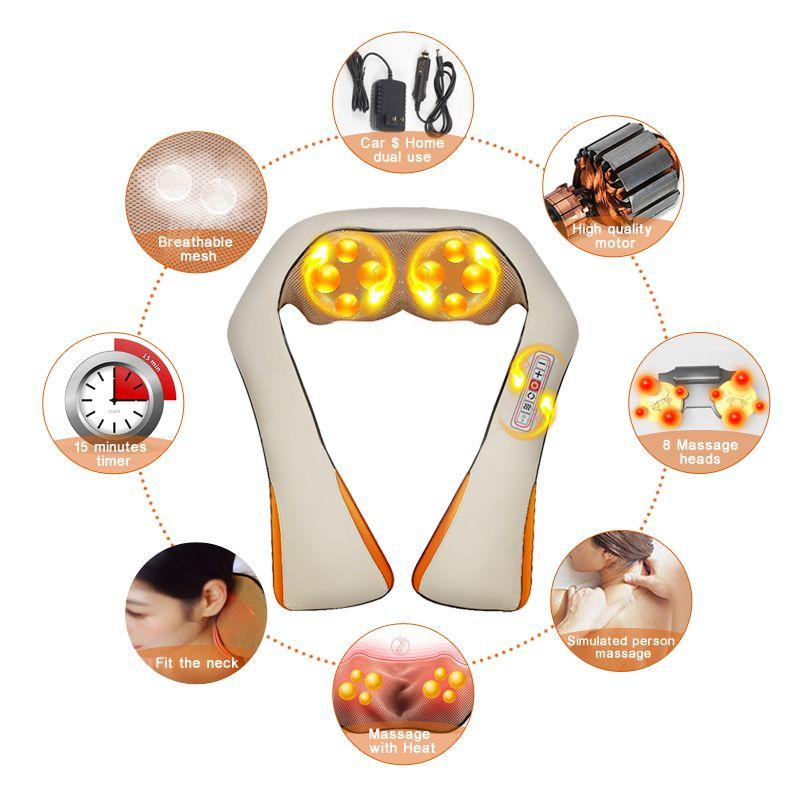 Riscaldamento elettrico Massaggiatore da auto e Infrarossi Impastare spalla Indietro Massageador Relax