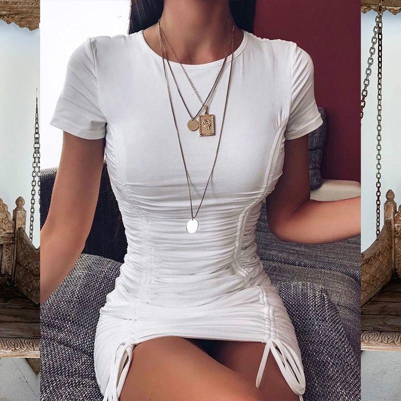 Marschwind marke designer articat weiß geredelt gefaltete bodycon kleid frauen kordelzug hülse mini dress massiv grundlegend dünn