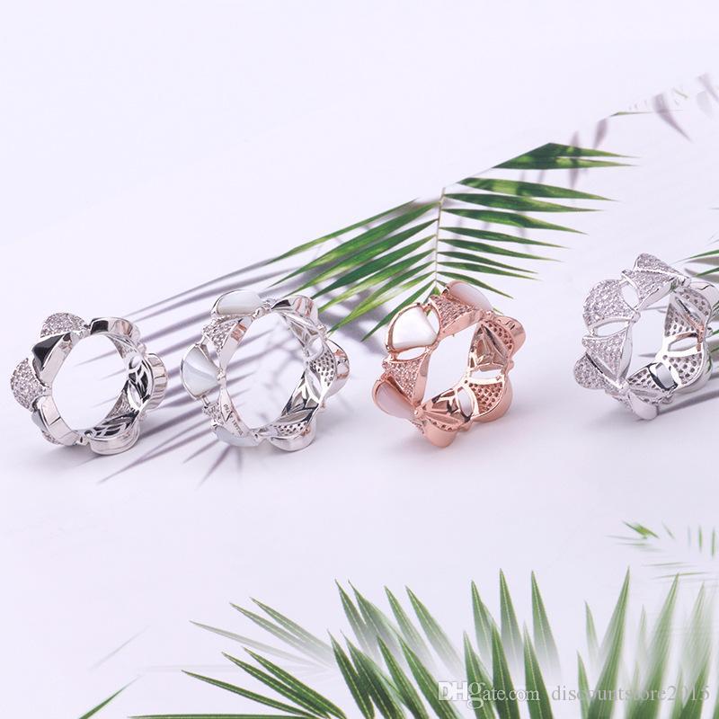 الأزياء الفاخرة العلامة التجارية مجوهرات سيدة نحاس الأبيض أم لؤلؤة وضع الماس قطاع تنورة الشكل 18K الذهب خواتم الزفاف الاشتباك Size6-9