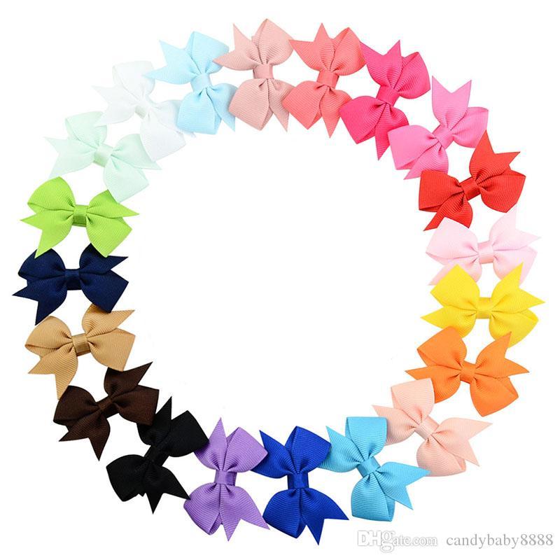 5.5 cm Baby Barrettes Boutique Bou Bow Clip per capelli Grosgrain Nastro Capelli Archi per ragazze Accessori per capelli Barrette 20 colori C504
