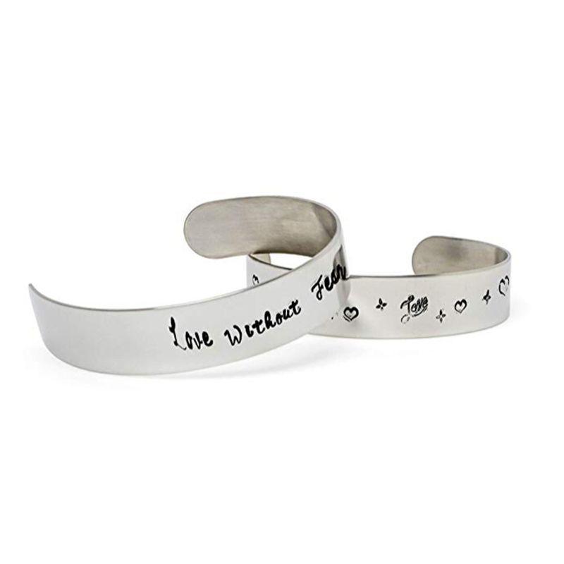 10pcs plana en blanco joyería que hace Doblado Estampación Personalización de la pulsera de espacios en blanco