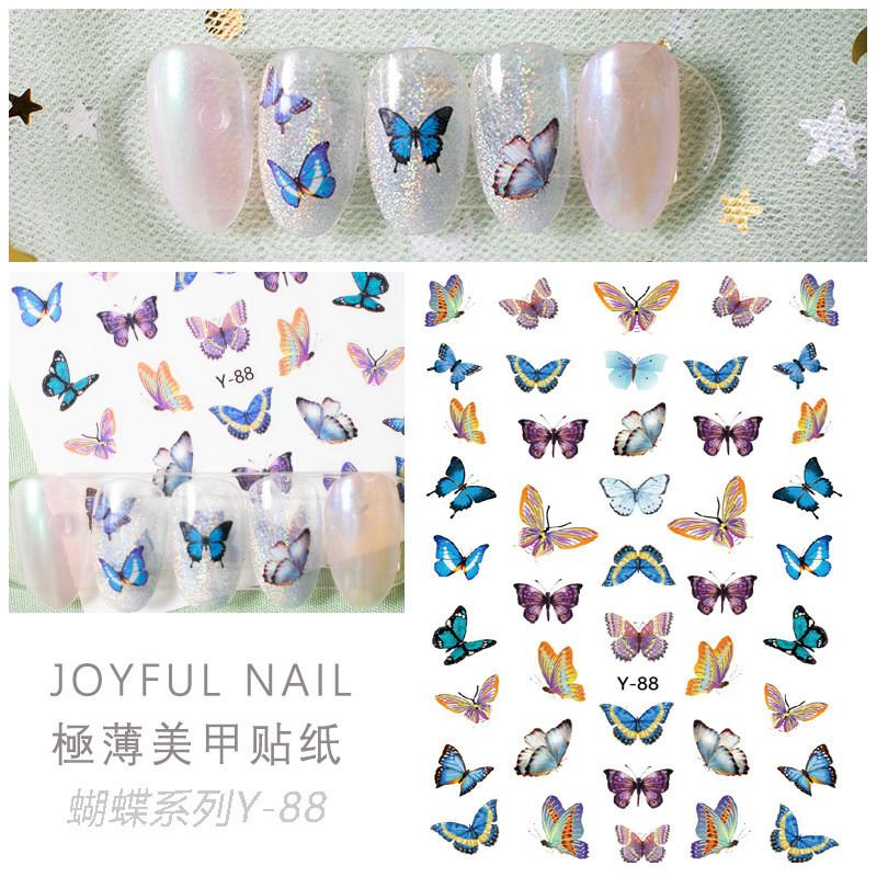 Top seller Y series Butterfly Nail Stickers 3D Nail Art Sticker Decals Y88-Y94 6.0*9.0CM