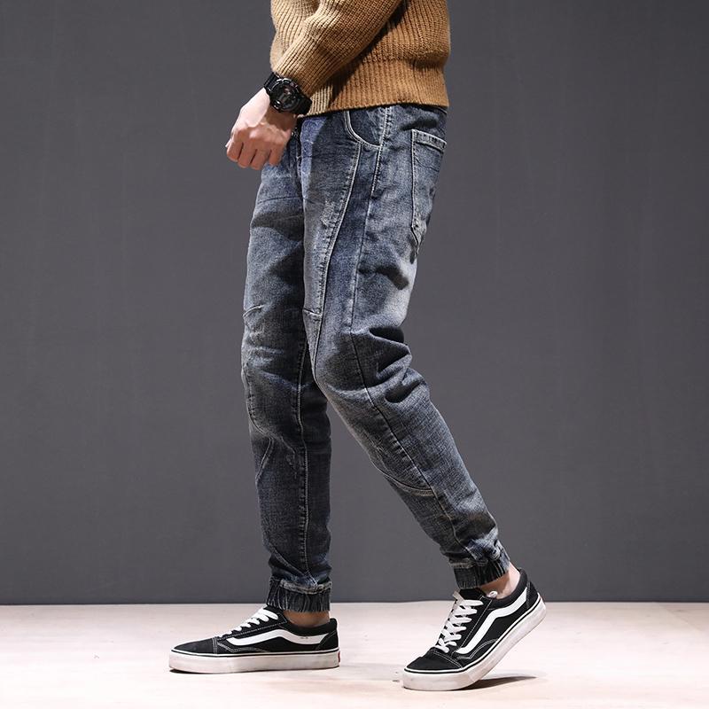 2018 New Herren Jeans Denim Jogger Draw Seil Design-Hip Hop-Rüttler für Männer dünnen Jeans Hip-Hop-Denim-Hosen