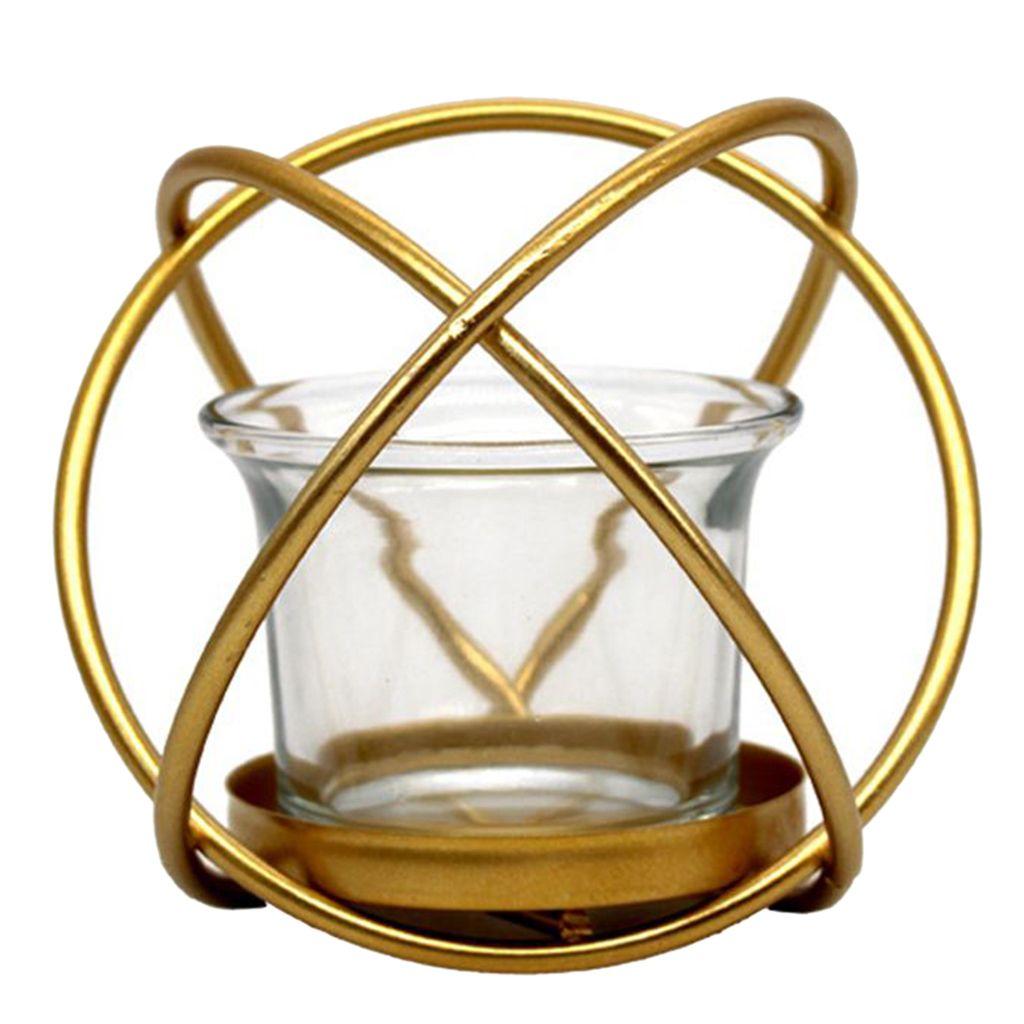 Piezas de centro de vela geométrica de estilo nórdico con taza de vidrio