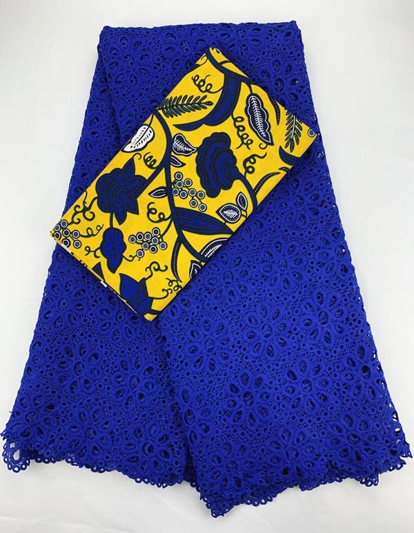 الأزرق الملكي أنقرة الحليب الأقمشة الحريرية والنسيج الدانتيل الدانتيل الأفريقي جودة عالية 2.5 + 3yards الشمع الأفريقي C0067 الطباعة القطن