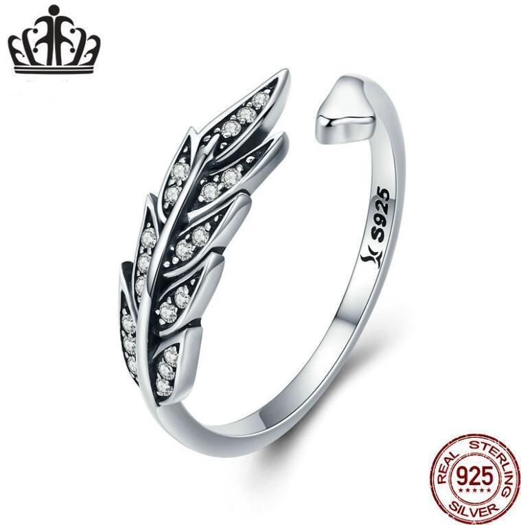 Feuille S925 Wing anneau ouvert flocon de neige pour femmes simple personnalité anneaux de mariage de Lovers Bague en argent sterling Brithday cadeau 2020 Fine Jewelry
